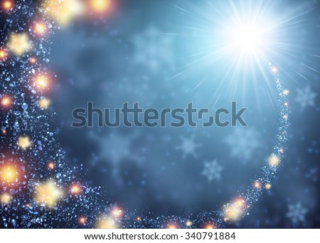 Blue sparkling background with stars. Vector illustration. - stock vector