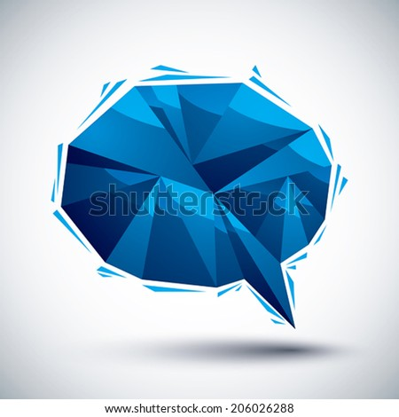 Blue speech bubble geometric icon made in 3d modern style, best for use as symbol or design element.