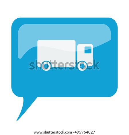 Blue speech bubble with white Delivery Truck icon on white background