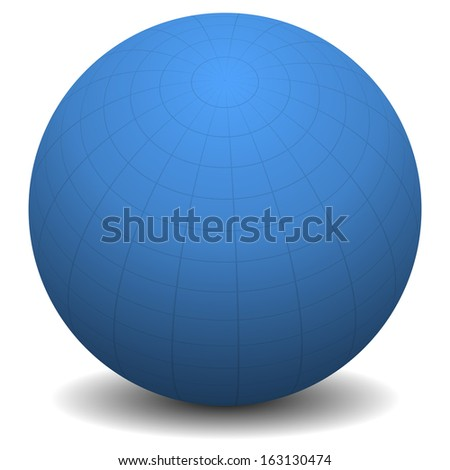 Blue sphere with grid isolated on white - stock vector