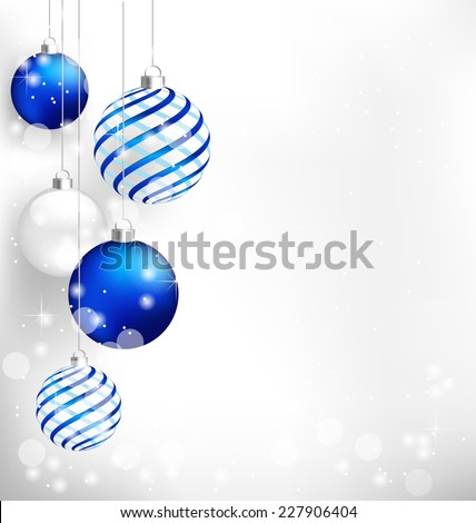 Blue spiral christmas balls hang on white background - stock vector