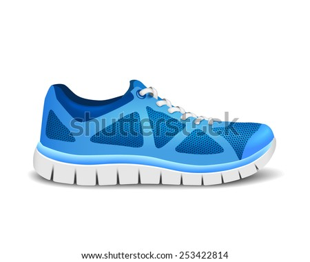 Blue sport shoes for running. Vector illustration - stock vector