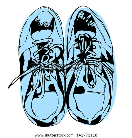 Blue sport shoes hand drawn sketch on white background, vector illustration