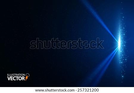 Blue spotlight background. Vector illustration  - stock vector