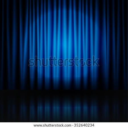 Blue spotlight on stage theatre curtain with reflection on floor. Vector illustration - stock vector