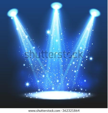 Blue spotlight. Vector illustration. - stock vector
