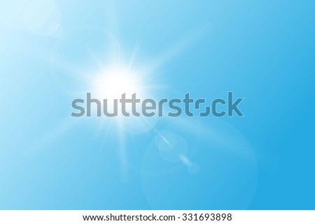 Blue spring sky, with bright sun and flares. - stock vector