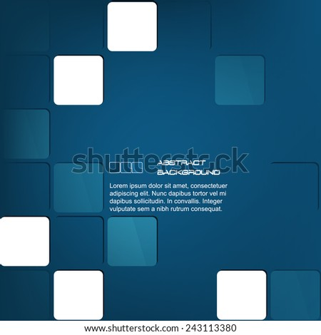 Blue square abstract business background/design with place for your content or creative editing, can be used for business presentation, print or publishing/vector illustration