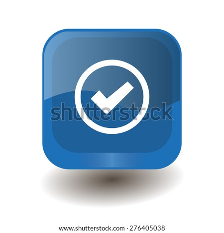 Blue square button with white check sign, vector design for website  - stock vector