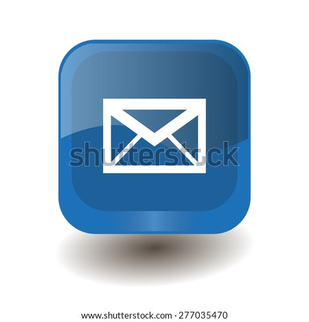 Blue square button with white envelope sign, vector design for website  - stock vector