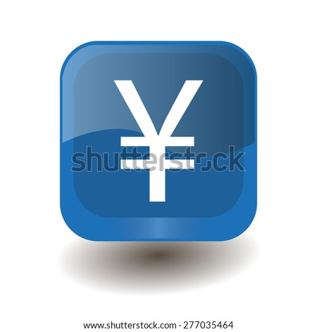 Blue square button with white yuan, yen sign, vector design for website  - stock vector