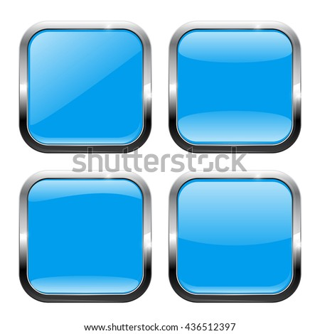 Blue square buttons. Glossy icon with metal frame. Vector illustration isolated on white background