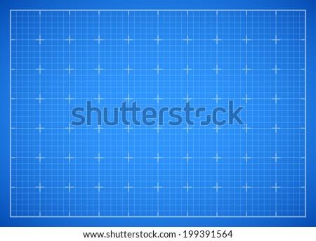 Blue square grid backdrop, blueprint vector background illustration - stock vector