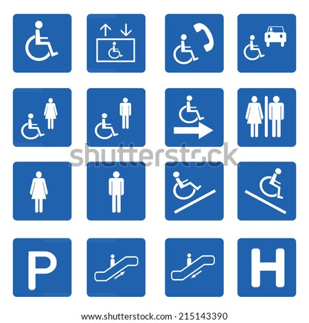Blue square handicap signs with wheelchair vector set, Vector illustration - stock vector