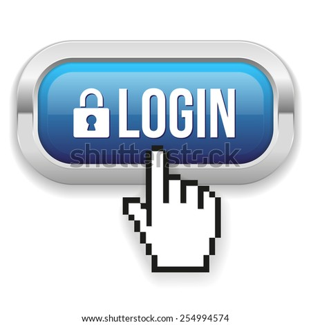 Blue Square Login Button With Metallic Border On White Background - stock vector