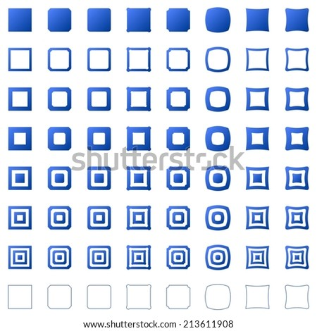 Blue square set - vector version  - stock vector