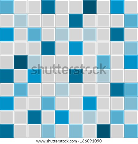 blue square tile texture of wall and floor, tile interior of bathroom, pool, kitchen, vector  - stock vector