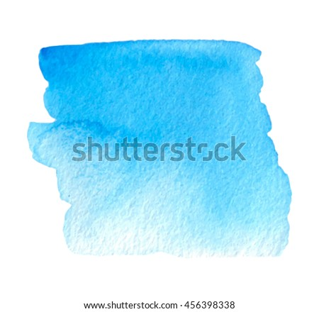 Blue square watercolor hand drawn paper texture vector isolated stain on white background for text design, banner. Abstract water color smudge brush paint element for card - stock vector