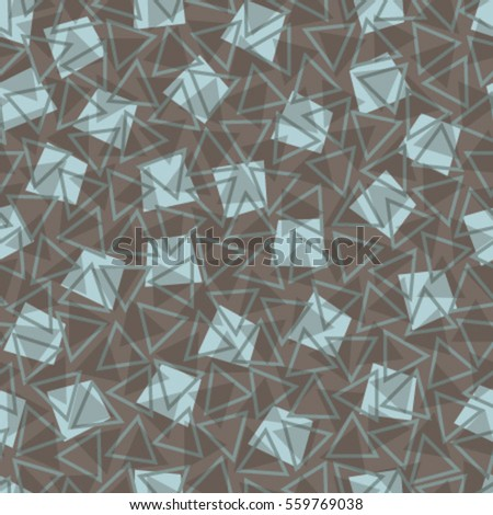blue squares triangles on brown seamless pattern
