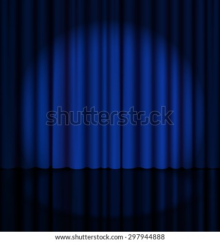 Blue Stage Curtain with Light Spot - stock vector