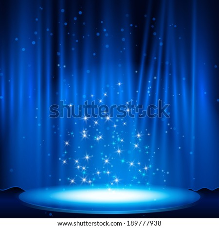 blue Stage with spotlight. Vector illustration. eps 10