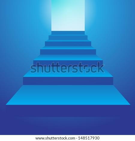 Blue Staircase  - stock vector