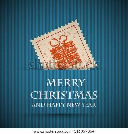 blue stamp christmas card. blue stamp christmas card concept - stock vector