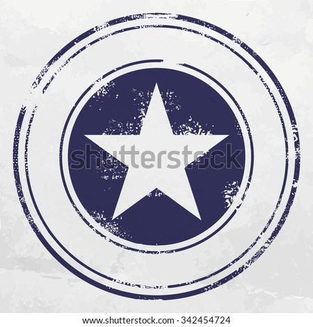 Blue stamp with five pointed star - stock vector