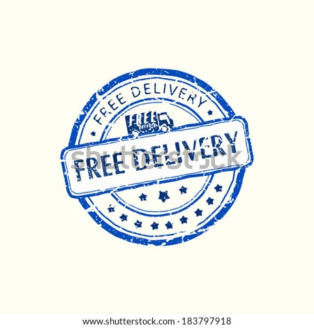 Blue stamp with the text free delivery written inside / business icon