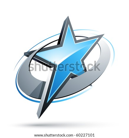 blue Star In A Chrome Circle - stock vector