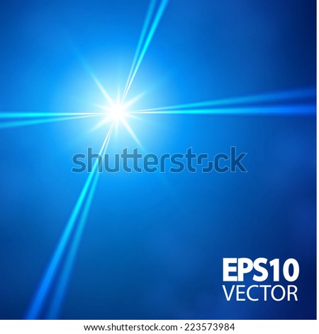 Blue star & spotlights. Vector illustration
