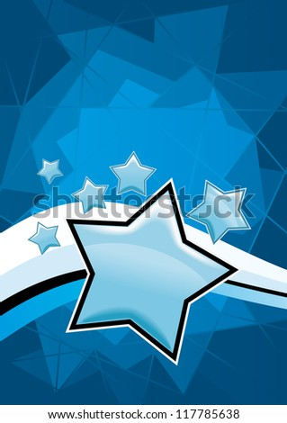 Blue star vector background