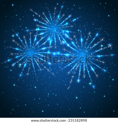 Blue starry background with shiny fireworks, illustration. - stock vector