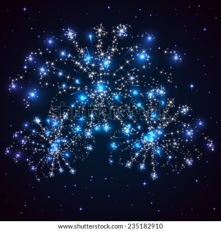 Blue starry sky and shiny fireworks, illustration. - stock vector