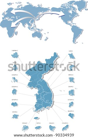 Blue States of Korea on white background : vector illustration