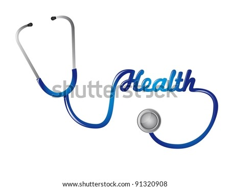 blue stethoscope with health text isolated. vector illustration