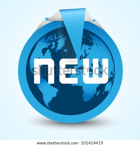 Blue sticker world map new stock vector 101414419 shutterstock blue sticker with world map new gumiabroncs Images