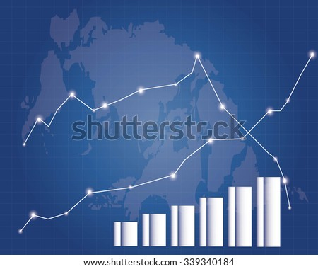 Blue Stock Market Graph - stock vector