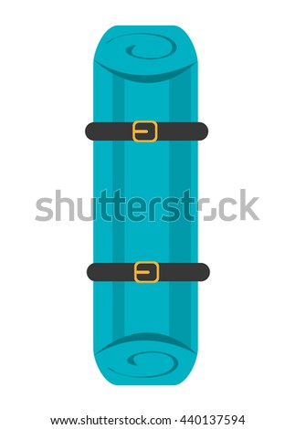 blue stretcher with black and yellow stripes over isolated background,first aid concept,vector illustration