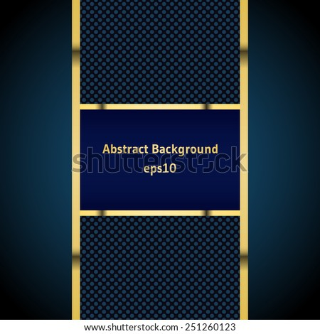 Blue stripe with a gold border on the abstract background