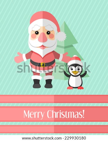 Blue striped holiday Christmas card with Santa Claus and penguin and fir - stock vector