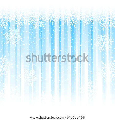 Blue stripes from darker to white at the bottom overlaid with a snowflake border at the top and snowfall. Abstract winter backdrop with copy space - stock vector
