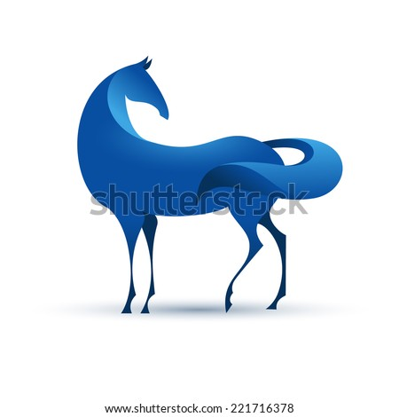 Blue stylized horse, eps10 vector - stock vector
