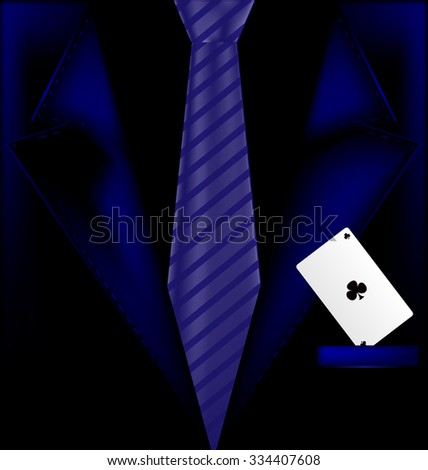 blue suit and ace - stock vector