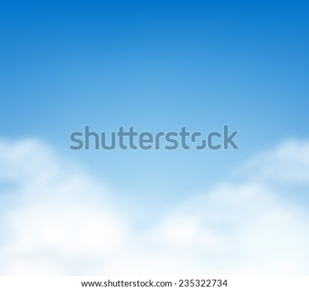 Blue summer sky with white fluffy clouds vector  - stock vector