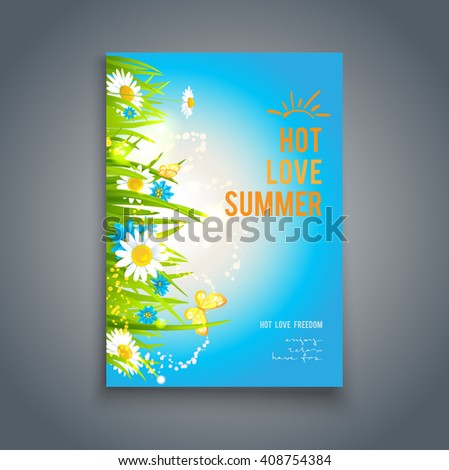 Blue summer template. Nature template for design banner,ticket, leaflet, card, poster and so on. - stock vector