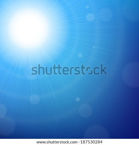 Blue Sun Background With Gradient Mesh, Vector Illustration - stock vector