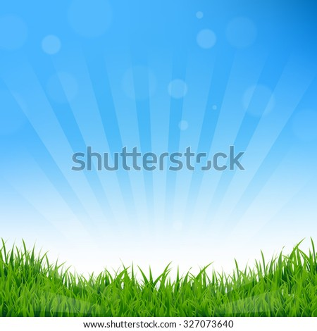Blue Sunburst And Grass Background With Gradient Mesh, Vector Illustration - stock vector