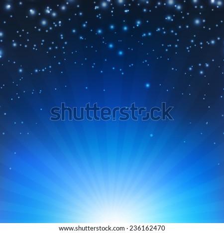 Blue Sunburst Poster With Gradient Mesh, Vector Illustration - stock vector