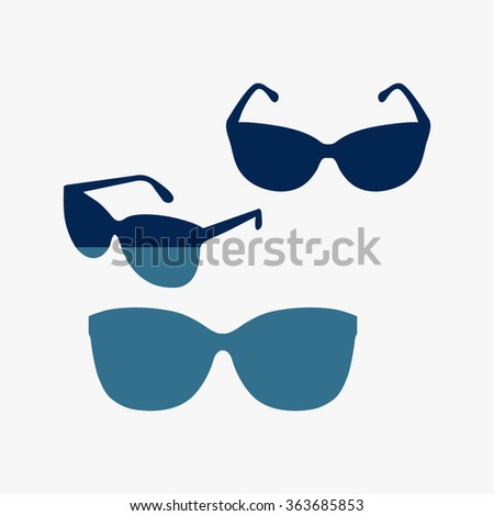 Blue Sunglasses icon, vector illustration